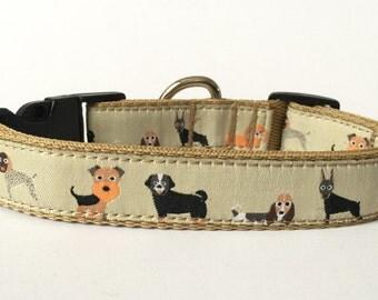 Dog Collar Adjustable Collar - Dog Breeds Airedale, Pug, Dachshund, Pointer, Doberman, Boxer, Basenji, Poodle, Doodle Woven Ribbon Beige