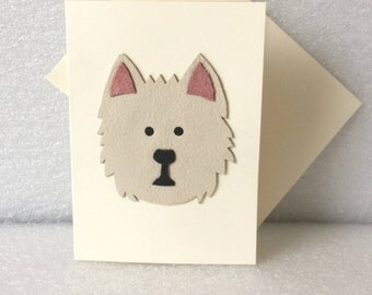 West Highland Terrier Dog Leather Art Card Westie Dog Greeting Cards Fancy Cards Handmade Leather Greeting Cards UK