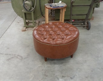 Tufted. Upholstered. Coffee Table OTTOMAN. Brown Vegan Saddle Leather- LARGE Round Ottoman