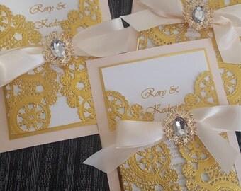SAMPLE-Blush and Metallic Gold Wedding Invitation