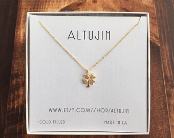 Gold clover necklace, gold necklace, CZ gold charm necklace, lucky charm necklace,
