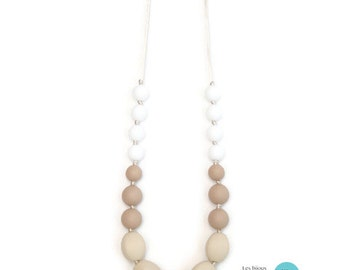 Teething necklace / silicone necklace / portage collar / necklace of feeding / Teething necklace - cream, beige and white