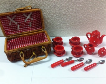 Miniature Tea Set in Raffia Cane Basket - Red w/White Polka Dots