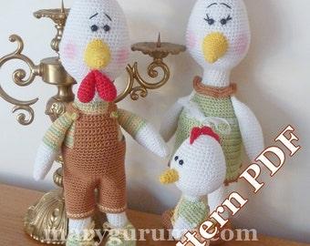 Crochet Pattern, pattern, tutorial, Amigurumi chicken family