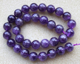 African Amethyst 12mm Round Beads - Full Strand