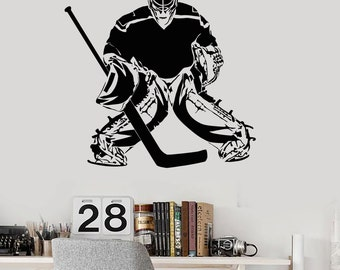 Wall Vinyl Decal Hockey Goalkeeper Winter Sport Guaranteed Quality Decor 2262di