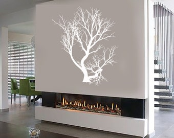 Wall Vinyl Decal Tree with Branches Outline Modern Decor for Living Room Center Focal Point (#1048di)