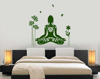 Wall Vinyl Decal Yoga Pose Chakra Asana Yoga Studio Decor Yoga Room Buddhism Modern Home Decor (#1228dz)