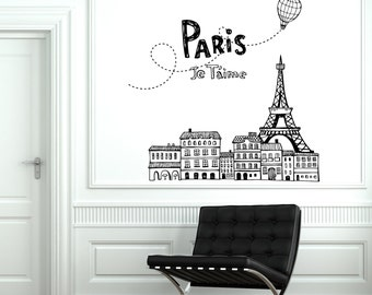 Wall Decal Paris France Air Balloon Eiffel Tower Vinyl Decal Stickers 1842dz