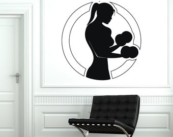 Wall Vinyl Decal Sport Woman Girl Fitness Gym Bodybuilding Mural Decor 1919di