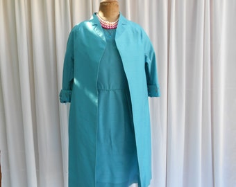 "Vintage ""Milady"" Beaded Party Dress & Evening Coat Suit Turquoise Shantung Taffeta 1960's  #20047"
