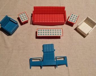 Vintage 1960s Liddle Kiddles Doll Furniture, 7-piece set