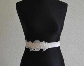 Emilia- Bridal Belt with Lace appliqué