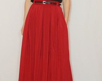 Wine red maxi skirt Women Chiffon skirt High waisted long skirt with pockets