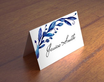 Blue wedding place card Winter wedding name card Navy wedding table card Diy seating card Wedding tent cards Printable place cards 1W72