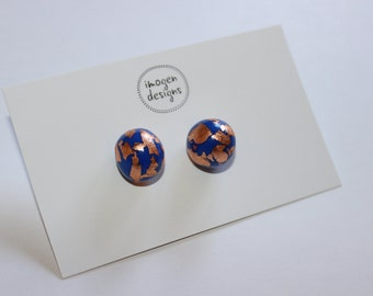 Polymer clay blue and copper earrings, studs