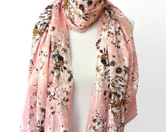 Cotton Scarf, Pink Scarf, Fashion scarf, Women's Shawl, Women Fashion Accessories, Gifts For Her, Floral Scarf, Boho Scarves, Spring Scarf