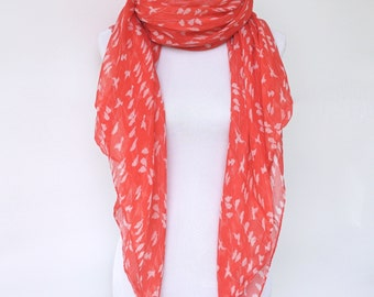 Red Scarf, White Red Bird Scarf, Womens Viscose Scarves, Fashion scarf, Boho scarf, Scarf Shawl, Women's Scarf, Gifts For Her