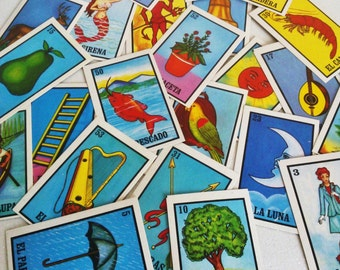 Mexican Loteria Memory Game, Learn Spanish words, Birthday, Party game, Concentration Games, Word Recognition Games