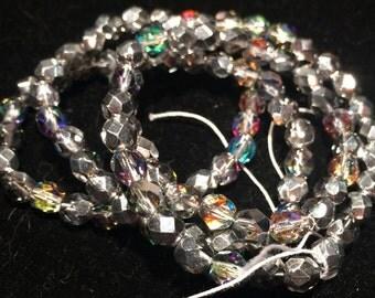 Preciosa  Fire Polished Beads, 6mm, Crystal Vitrail Light, FPR06VL, 50 Beads, Czech Glass