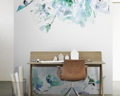 "Blue Vintage Floral Removable Wallpaper | Watercolor wall mural – Peel & Stick |  96.85"" x 96.85"" (246 x 246cm)"