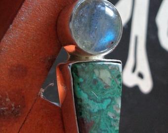Labradorite Malachite Chrysocolla  sterling silver Pendant