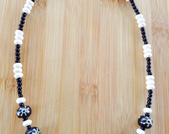 Glass and stone necklace