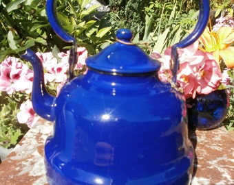 french Vintage Enamelled kettle Cobalt Blue Japy - Vintage enameled Kettle Japy cobalt blue