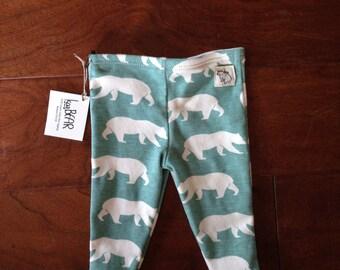 Newborn Organic Blue Bear Leggings