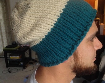 slouchy, knit, fall / winter tri-color hat