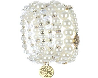 5 PC Gold & Cream Pearl Tree of Life Pearl Coin Charm Stretch Bracelet