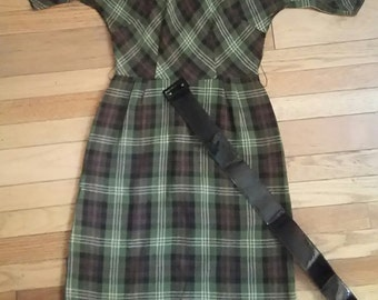50s Plaid Wiggle Dress / Bettie Page Dress / Vintage Rockabilly Dress