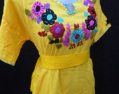 mexican blouse, belt included, 100% cotton fits M size mexican embroidered blouse oaxaca
