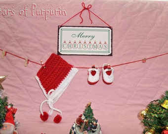 Vintage style baby set for - Bonnet Hat and Mary Jane shoes - Christmas time