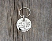 Hand stamped dog ID tag / call my mom before she freaks out / funny dog tag / dog tags for dogs