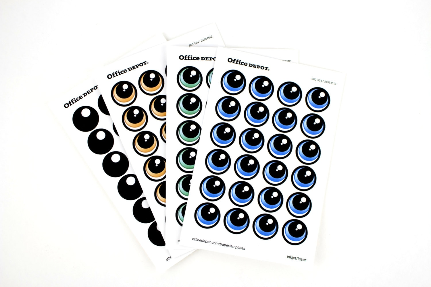 PRINT YOUR OWN Eye Stickers Template Pack - Office depot window decals template