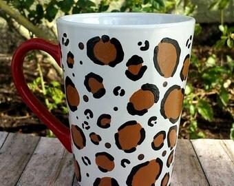 Cheetah mug. Cheetah print mug. Cheetah lover. Red cheetah print mug