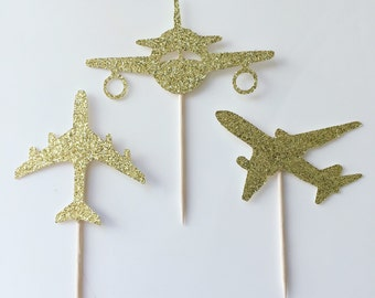 Jet Plane Cake and Cupcake Toppers (set of 12)