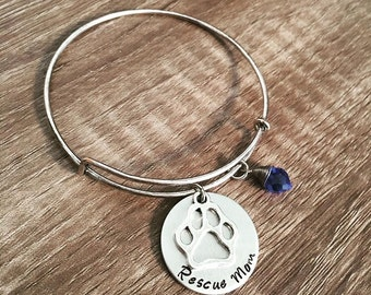 Rescue Mom bangle bracelet / Animal rescue / paw print charm / animal lover / rescue pets / birthstone charm / Rescue love / Pets / memorial