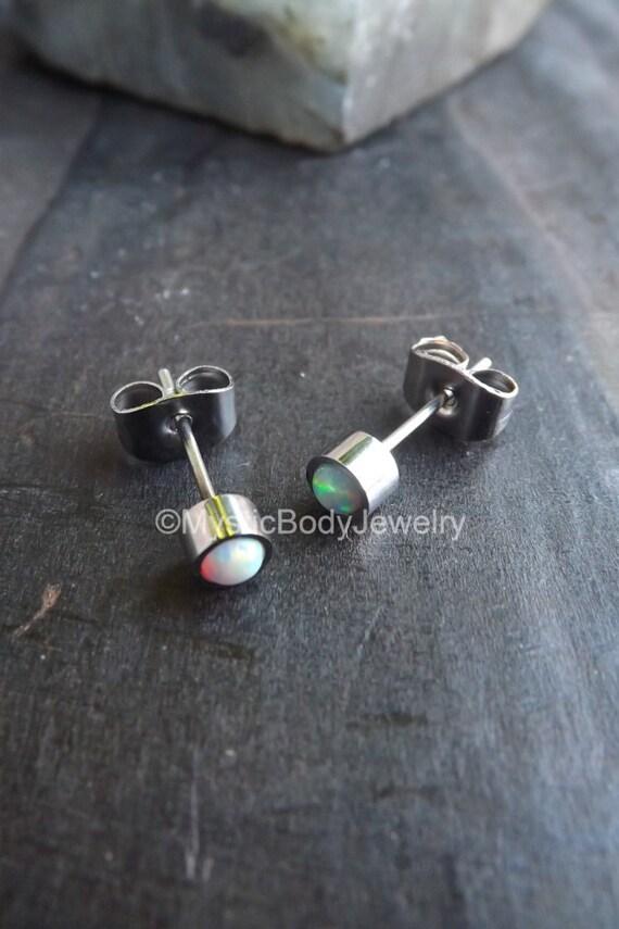 opal stud earrings 20g 4mm white by