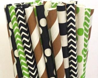 2.85 US Shipping -Football Paper Straws - Brown/Black/Green Straws - Football Straws - Cake Pop Sticks - Drinking Straws