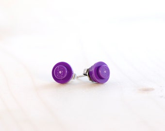 Royal purple earrings ~ Purple LEGO® earrings ~ Hypoallergenic LEGO® jewelry ~ Novelty gifts ~ Easter basket filler ~ Inexpensive gifts