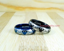 2 Piece Set Tungsten Bands with Domed Edge Minnie Mouse Design Pattern Rings - 6mm Tungsten Rings