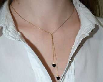 Gold LARIAT NECKLACE // Bar Necklace - Y Necklace Gold - Bar Drop Necklace - Bar Lariat Onyx Heart Necklace - Everyday Necklace