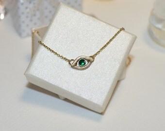 Emerald Necklace // Emerald Jewelry - Emerald Drop Necklace Gold - Stone Necklace - Gemstone Pendant - Simple Necklace