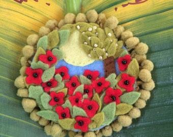 Handmade Field Of Poppies Felt Brooch