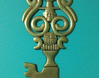 Vintage Wall Decor // Brass Wall Decor // Key // Man with Hat