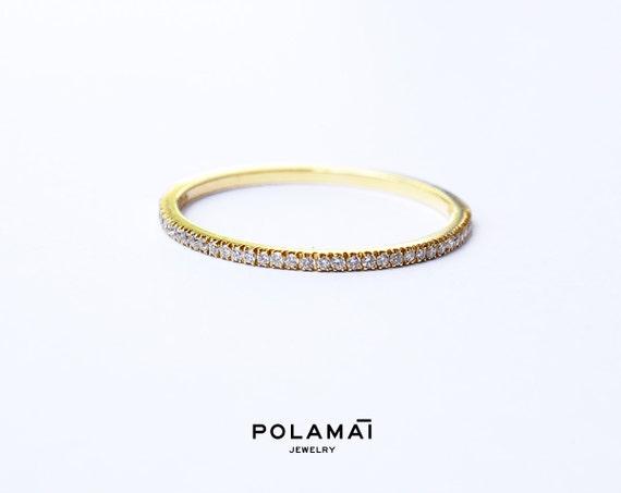Diamond Eternity Ring 12mm 18k Micro Pave Eternity By Polamai