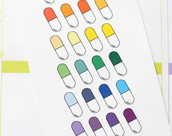 Planner Stickers Medicine Capsule Pill for Erin Condren, Happy Planner, Filofax, Scrapbooking