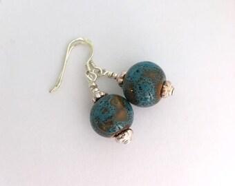 Ceramic earrings / boho bridal earrings / minimal earrings / dainty earrings / rustic earrings / something blue bride gift for her
